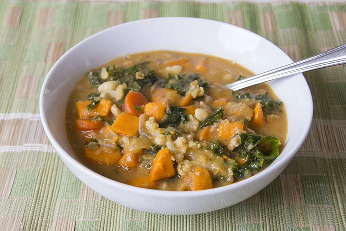 sweet potato, kale and peanut stew